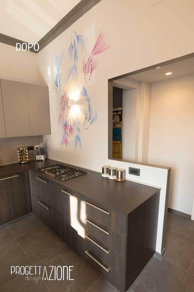 Progettazione e ristrutturazione di un appartamento e cucina a Torino colore grigio