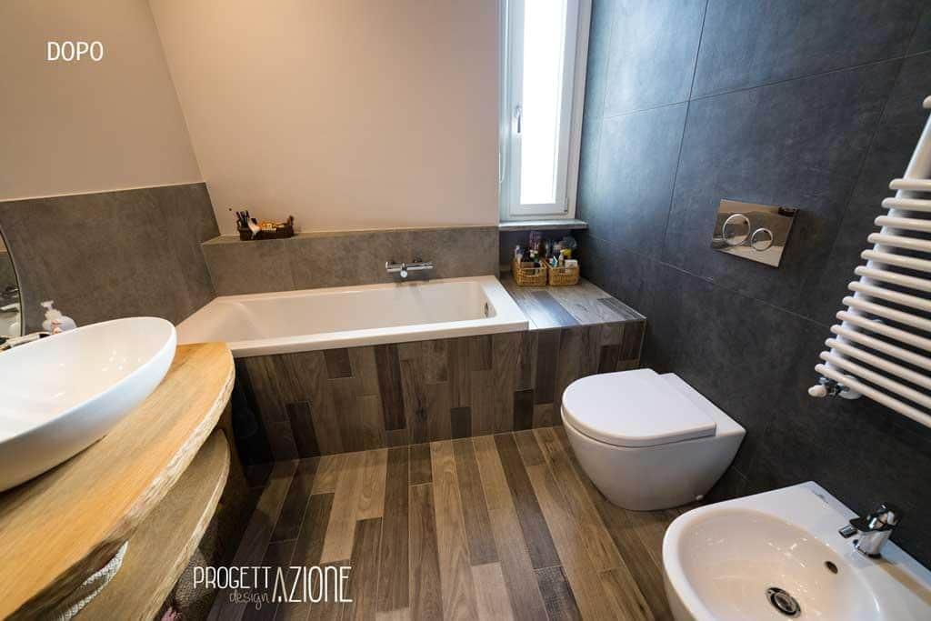 Progetto di PD ritrutturazione del bagno colore brown a Nichelino